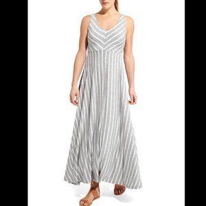 Athleta White & Gray Striped Maxi Dress